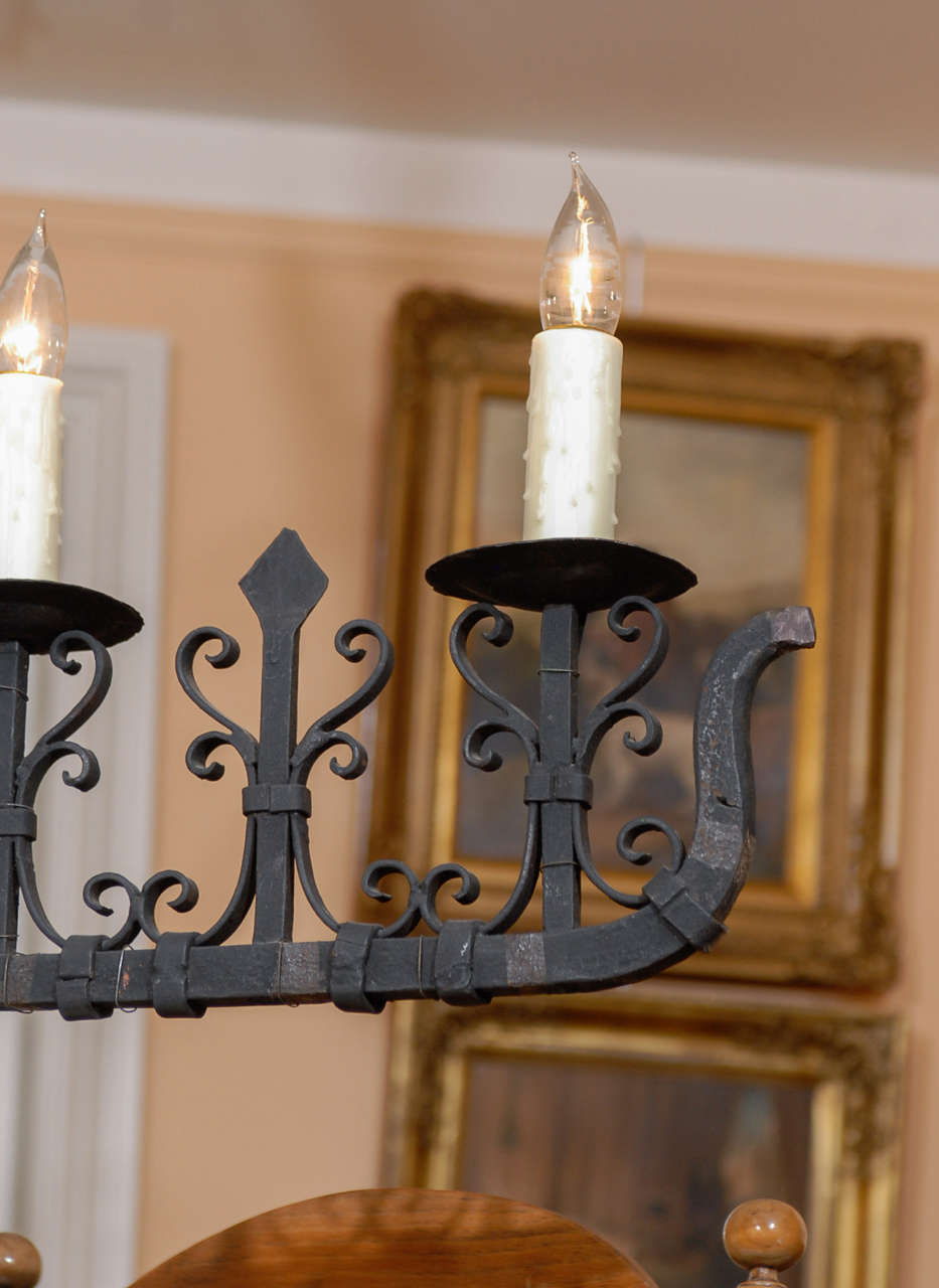 French 1940s wrought iron five light linear chandelier for 1940s decoration