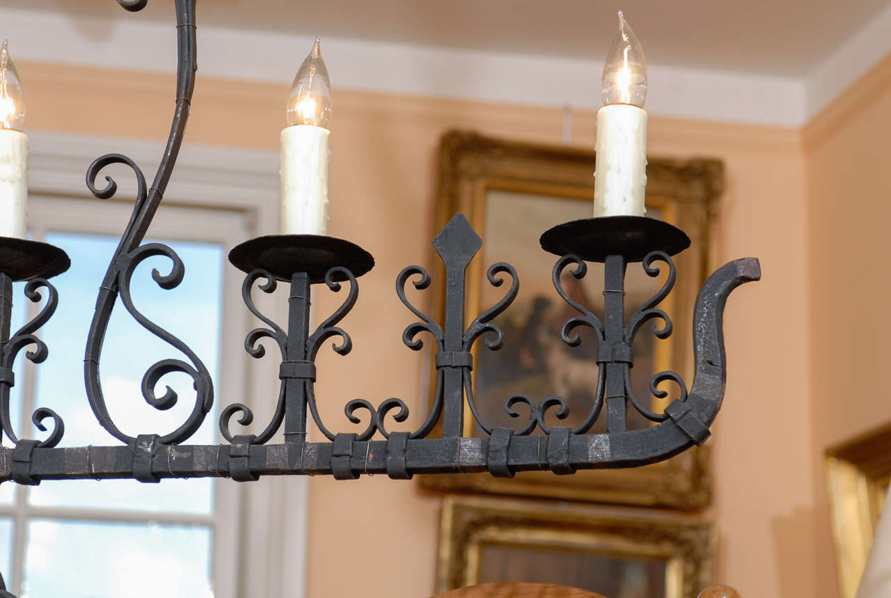 French 1940s, Wrought Iron Five-Light Linear Chandelier