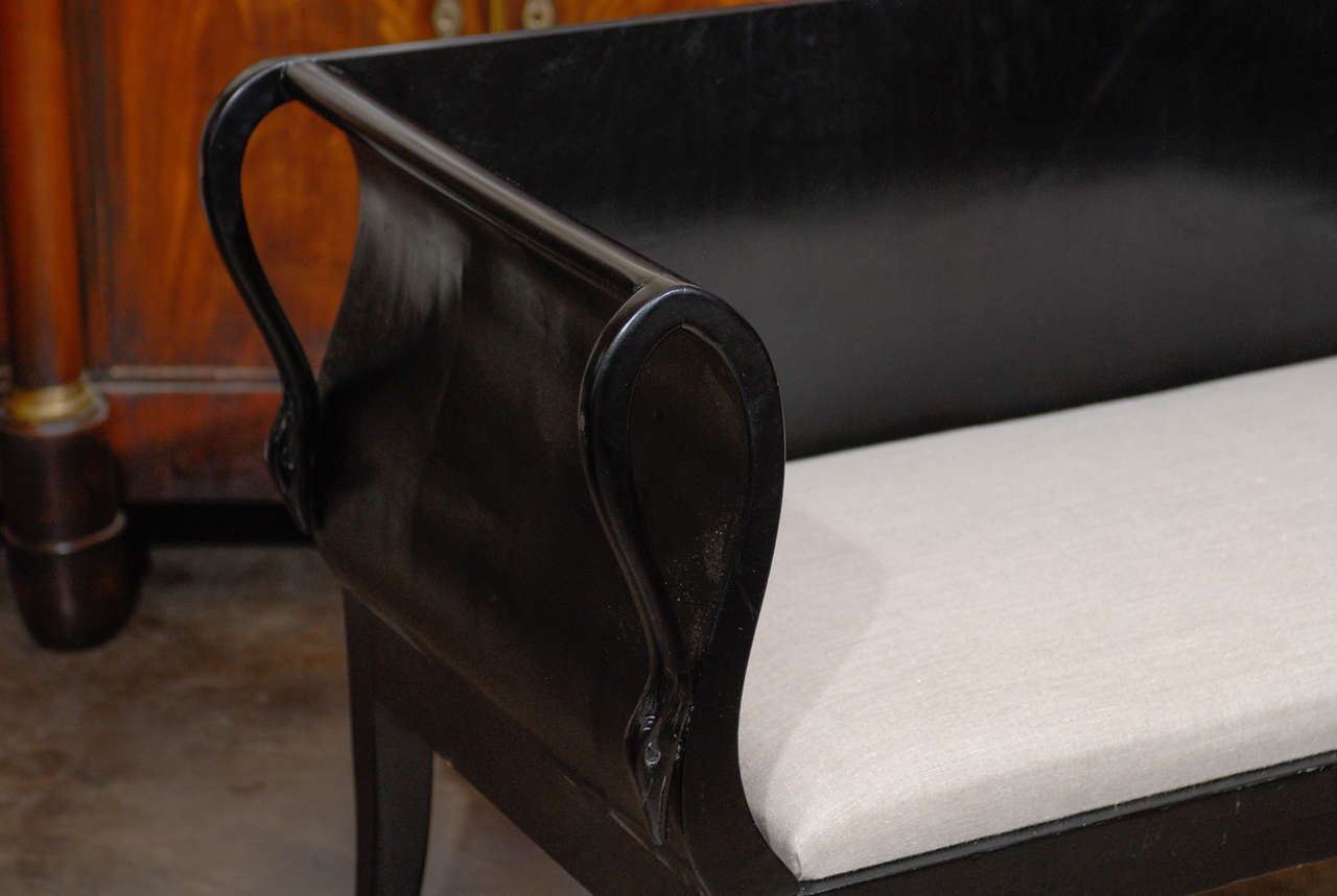 Pair Of Ebonized Upholstered Benches With Backs At 1stdibs