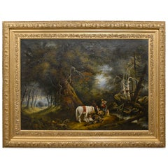 Large Oil Painting of Men with Horse and Dogs in Landscape, Turn of the Century