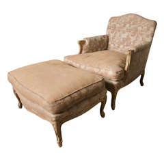French Louis XV Style Armchair and Stool