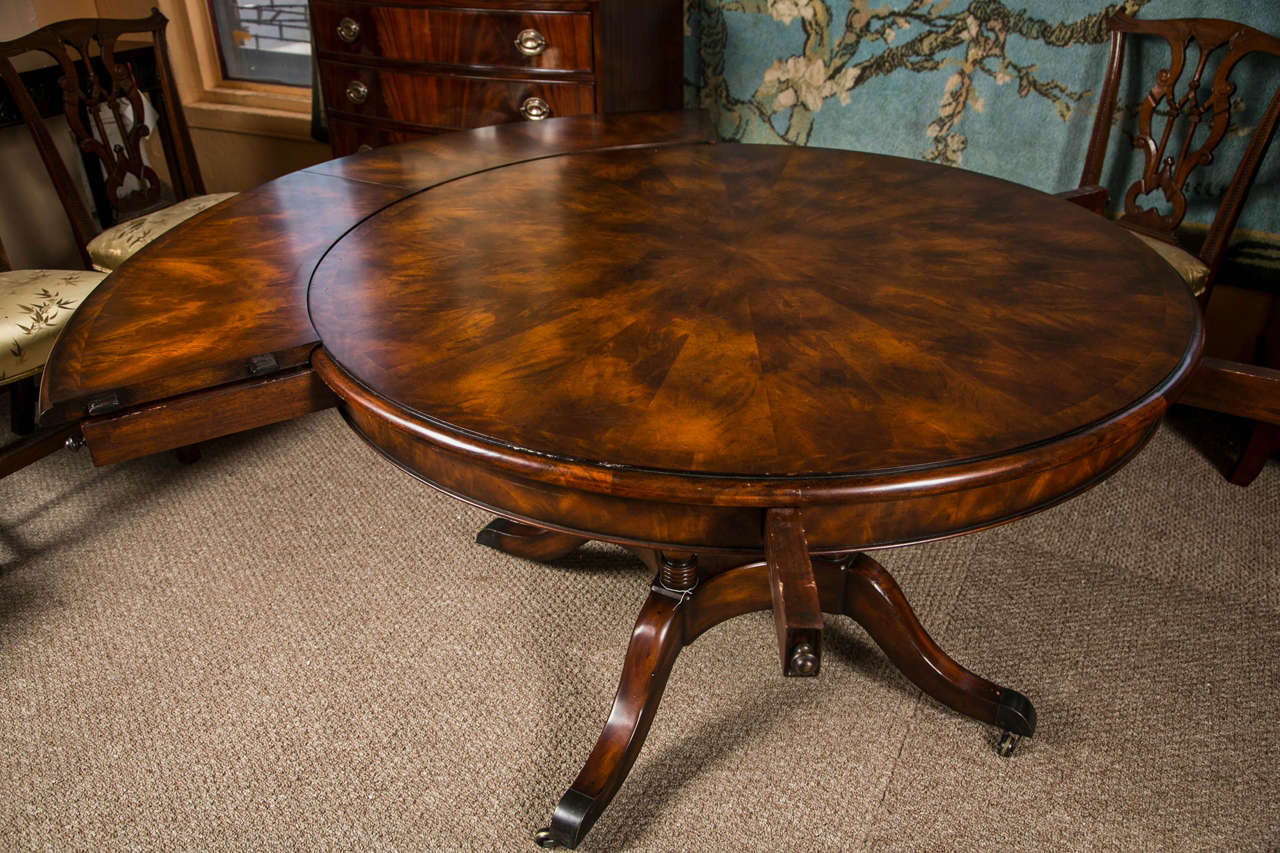 Circular extendable mahogany dining table custom quality for Dining room tables quality
