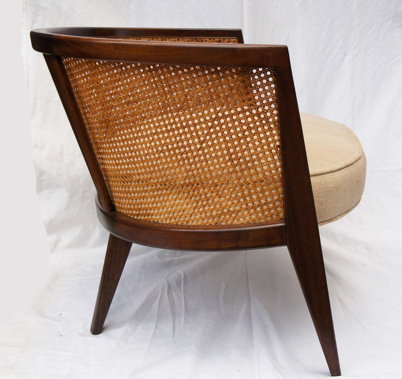 pair of mid century harvey probber walnut and cane hoop chairs 3