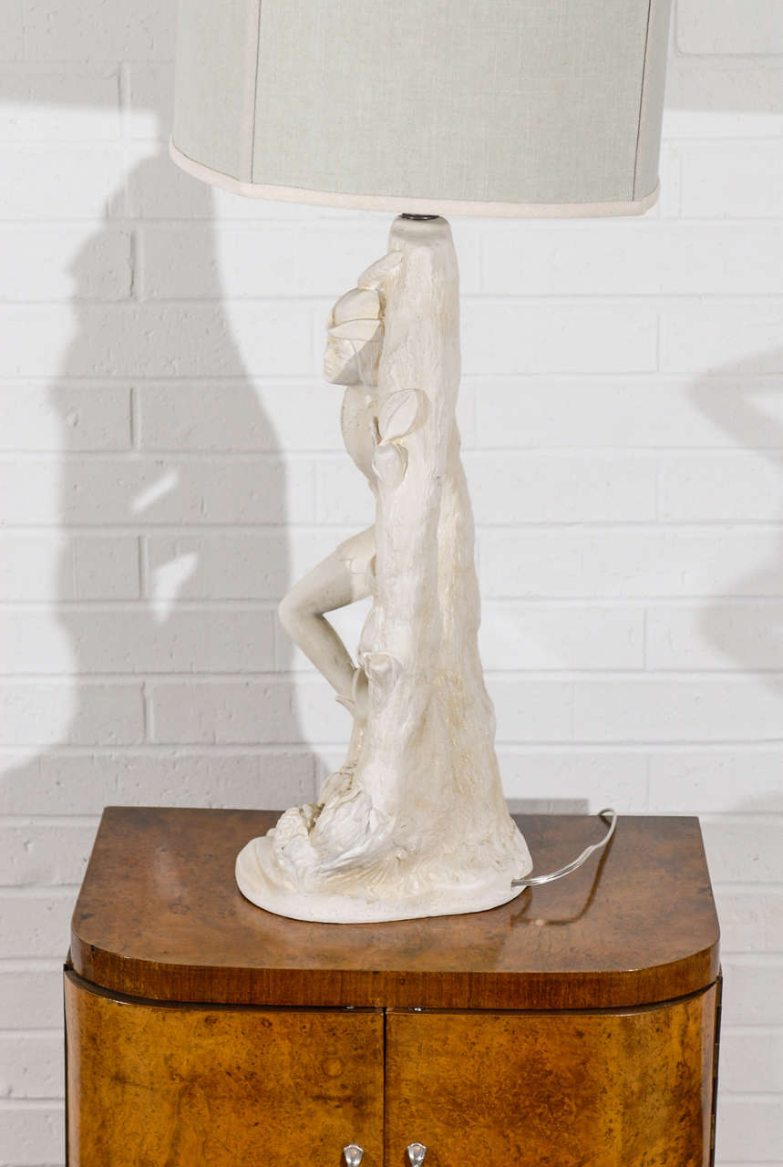 Beautiful Pair of Cream Plaster Lamps by Continental Art Company 5