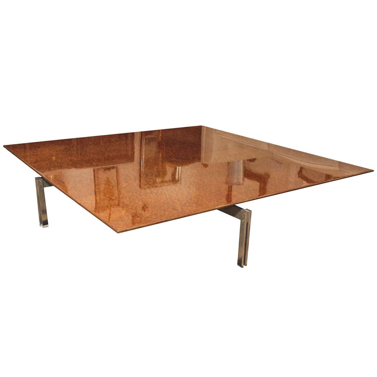 Large And Impressive Burlwood Low Table By Saporiti Italia At 1stdibs