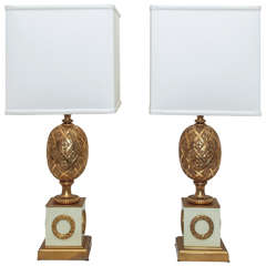 SATURDAY SALE Pair Neo-Classical Gilt Bronze Table Lamps