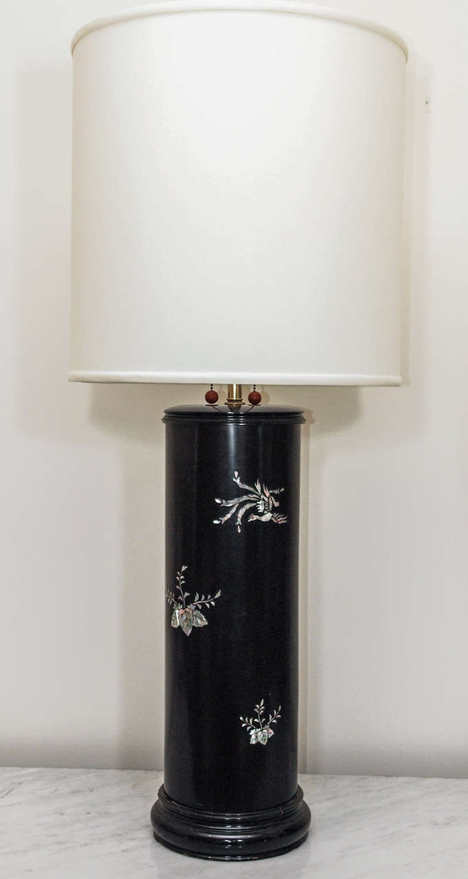 saturday sale imposing ebonized table lamps with mother of. Black Bedroom Furniture Sets. Home Design Ideas