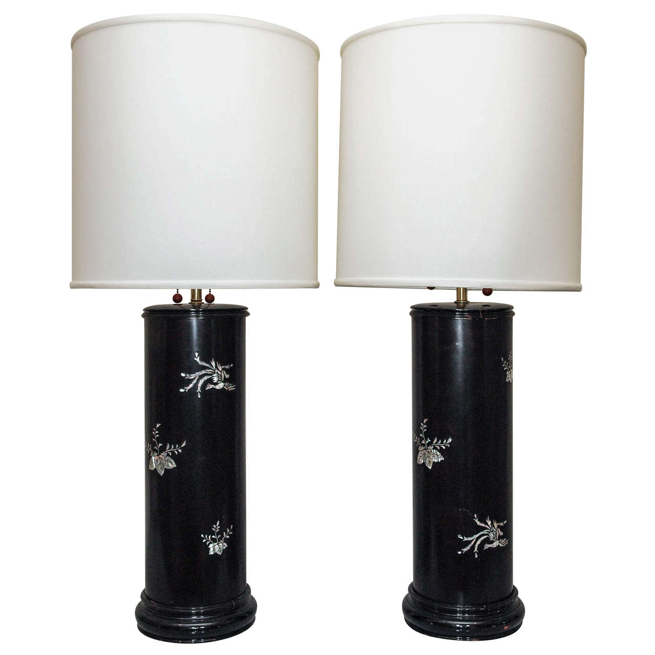 imposing ebonized table lamps with mother of pearl inlay at 1stdibs. Black Bedroom Furniture Sets. Home Design Ideas