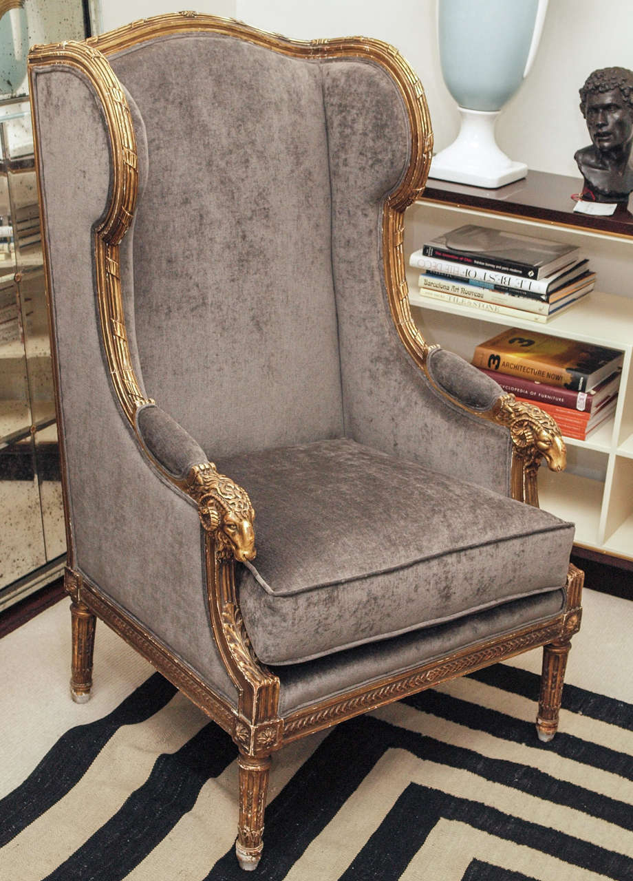 Ornate Louis Xvi Style Quot Rams Head Quot Wing Back Armchair At