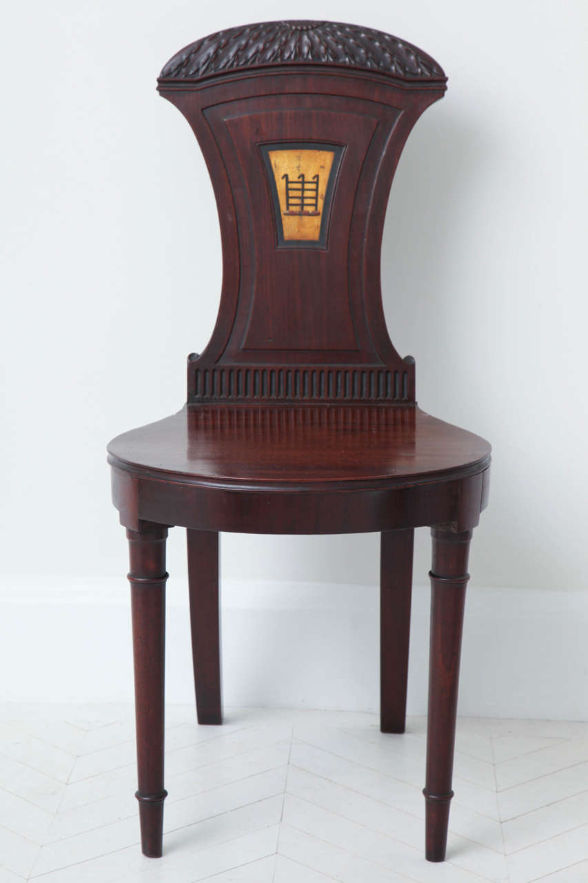 Pair of English Regency Mahogany Hall Chairs 2