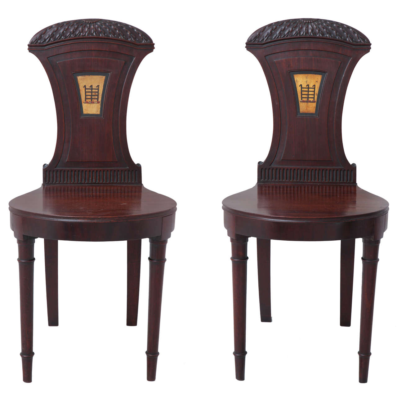 Pair of English Regency Mahogany Hall Chairs 1