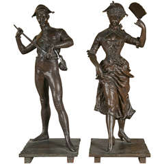 Pair of Museum Quality Figural Bronze Sculptures