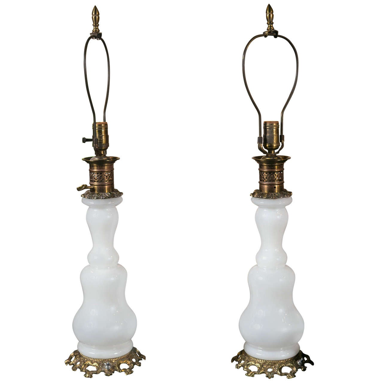 Pair of French Opaline Table Lamps