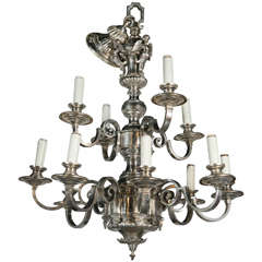 Pair of Silver Plated Caldwell Chandeliers