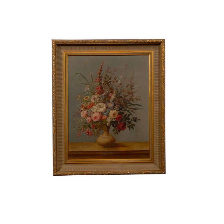 18th Century Italian Painting Vase of Flowers