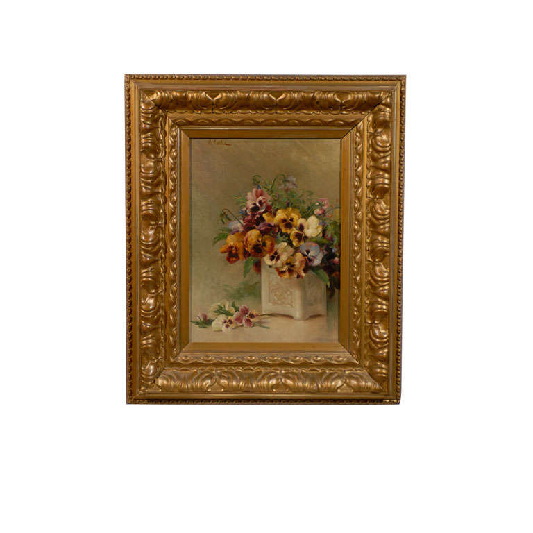 19th Century French Oil on Canvas Framed Still Life of Pansies