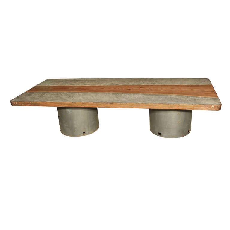 Concrete and wood top coffee table at 1stdibs Concrete and wood furniture