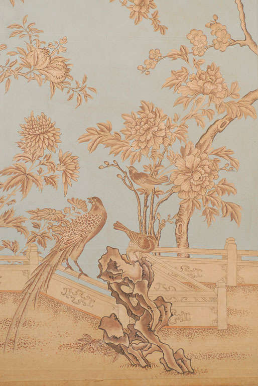 Pair of chinoiserie wallpaper panels custom painted at for Wallpaper sheets for sale
