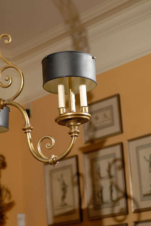 3-Arm Brass Chandelier with Tole Shades 4