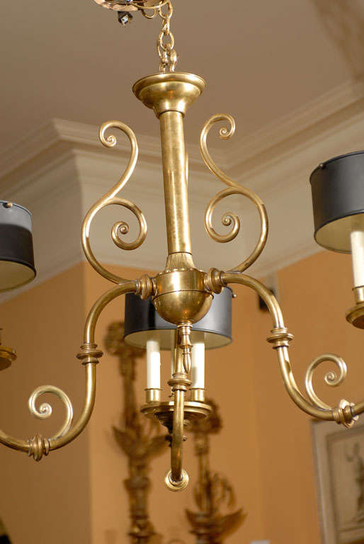 3-Arm Brass Chandelier with Tole Shades 5