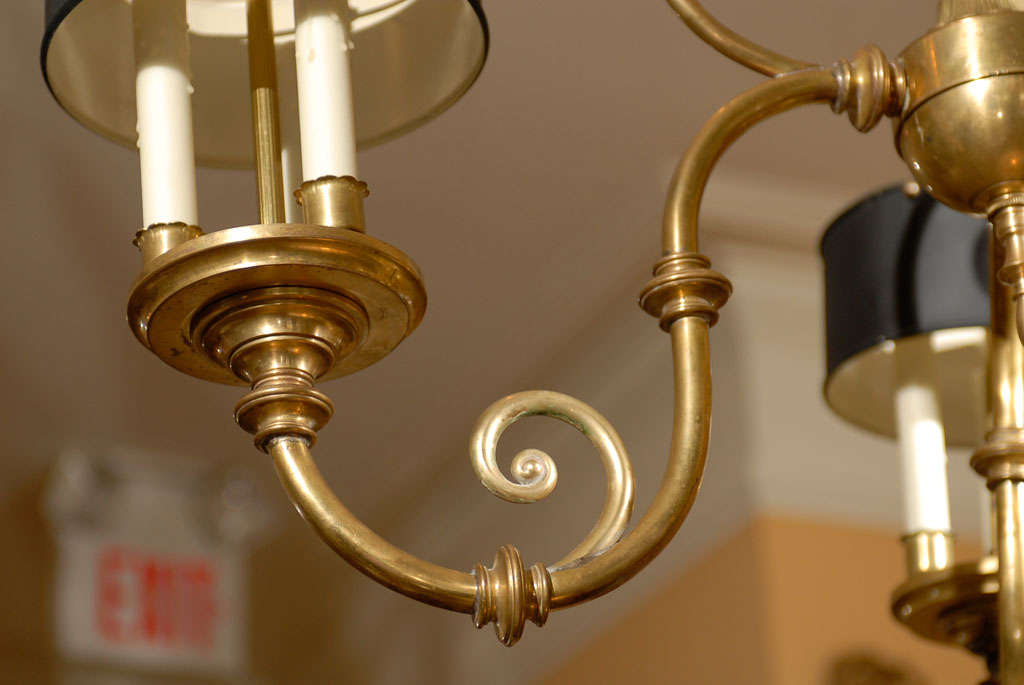 3-Arm Brass Chandelier with Tole Shades 6
