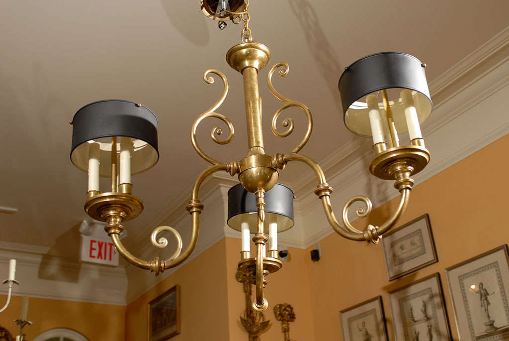 3-Arm Brass Chandelier with Tole Shades 7