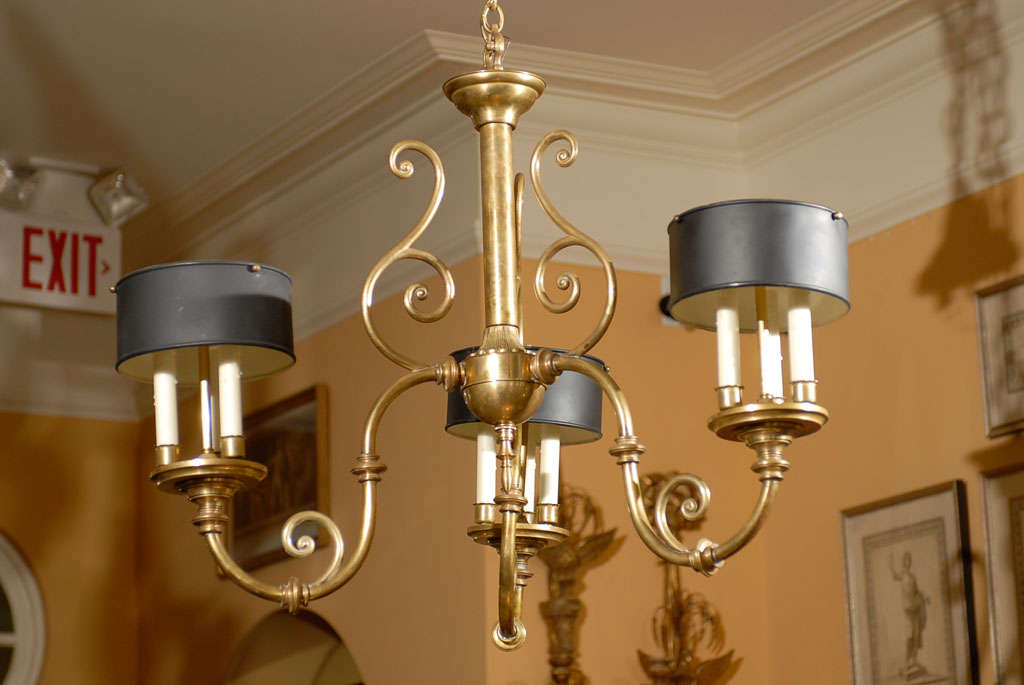 3-Arm Brass Chandelier with Tole Shades 9