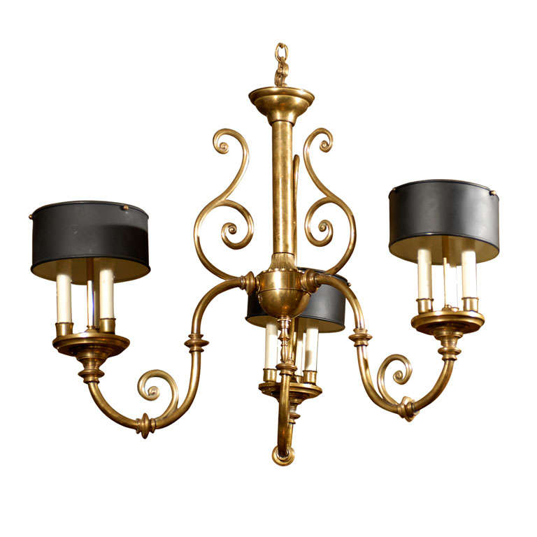 3-Arm Brass Chandelier with Tole Shades 1
