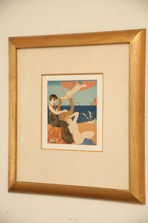 French Art Deco Engraving by George Barbier from Chansons De Bilitis For Sale