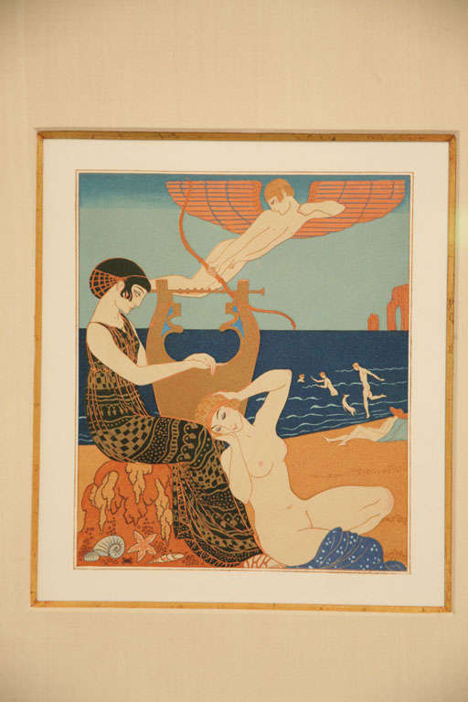 Art Deco Engraving by George Barbier from Chansons De Bilitis In Good Condition For Sale In North Miami, FL