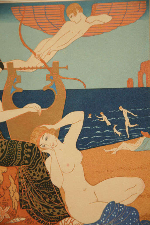 20th Century Art Deco Engraving by George Barbier from Chansons De Bilitis For Sale