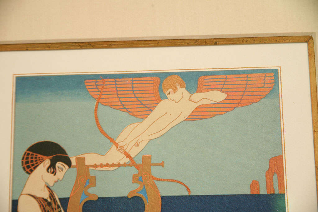 Silk Art Deco Engraving by George Barbier from Chansons De Bilitis For Sale