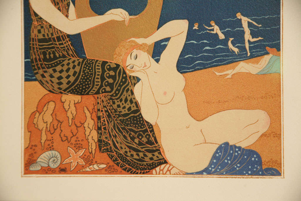 Art Deco Engraving by George Barbier from Chansons De Bilitis For Sale 1