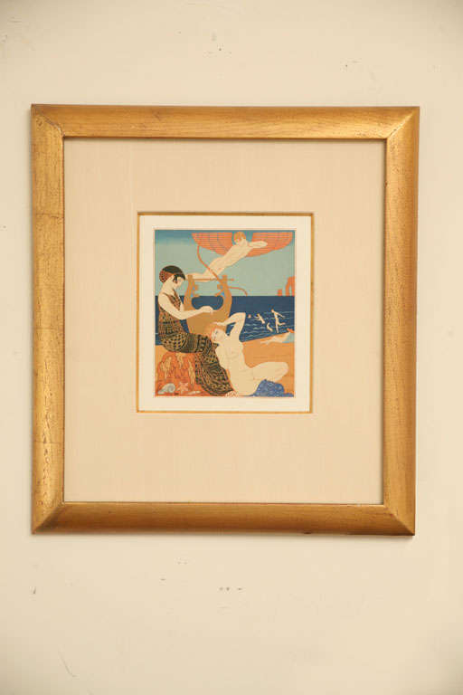 This lovely sensual rare French Art Deco engraving from the coveted portfolio Chansons de Bilitis in the 1920s France is by the famed artist; George Barbier. It is exquisitely executed with an Egyptian Revival feel with Art Deco influences of