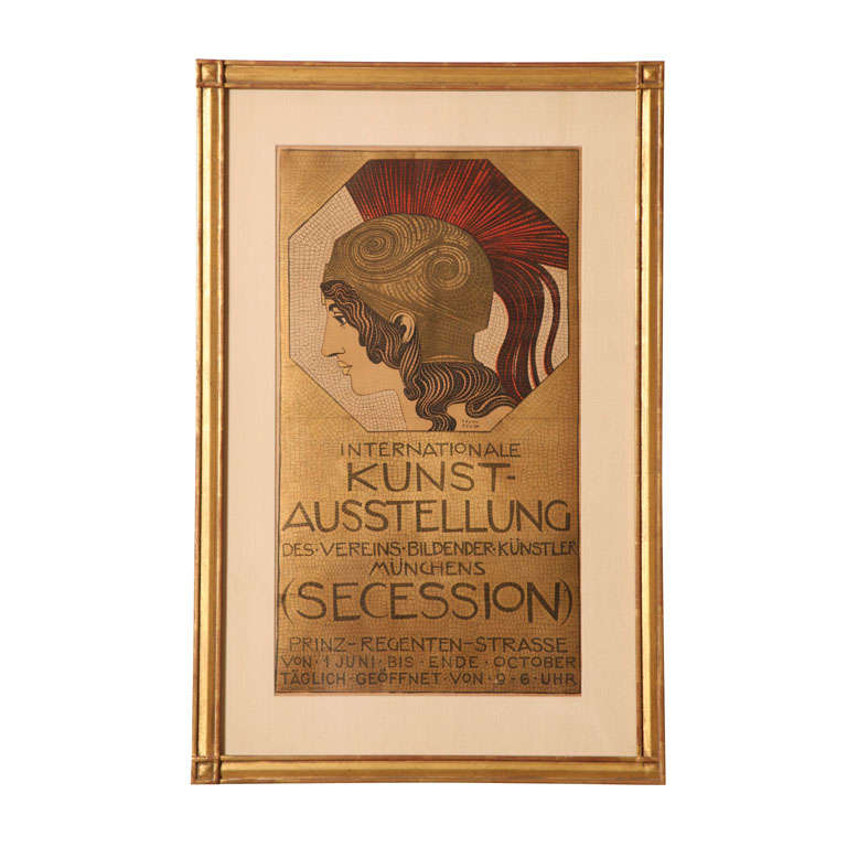 Original & Authentic European Stone Lithographic German Poster by Franz Stuck