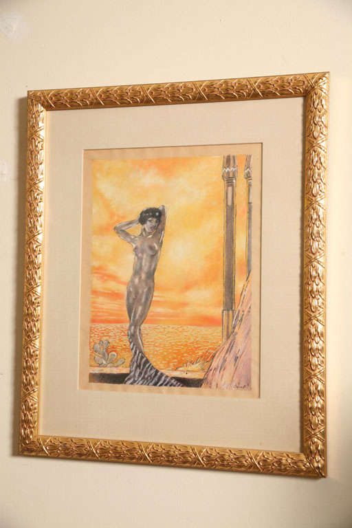 One of a Kind French Art Deco Watercolor by Eduard Chimot Custom Framed In Good Condition For Sale In North Miami, FL
