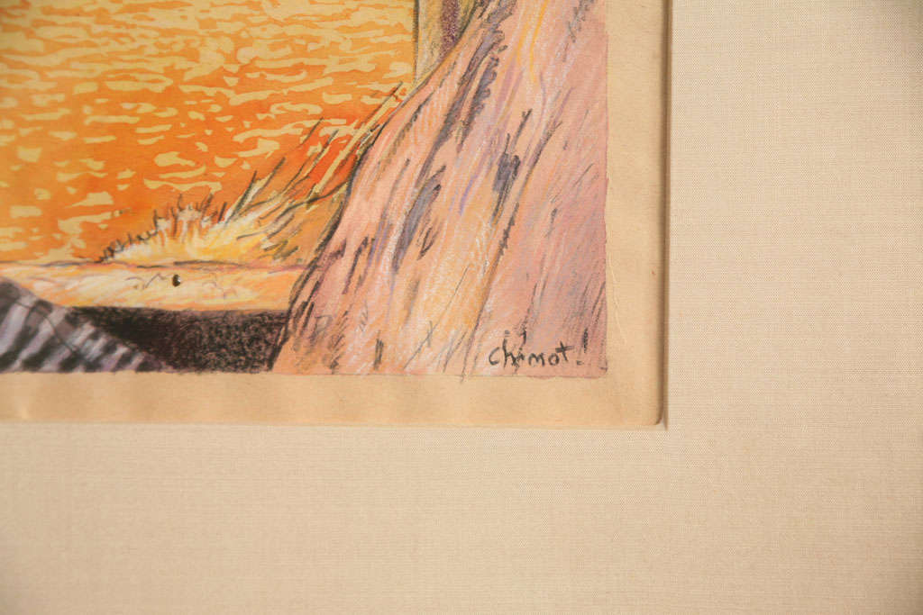 Wood One of a Kind French Art Deco Watercolor by Eduard Chimot Custom Framed For Sale