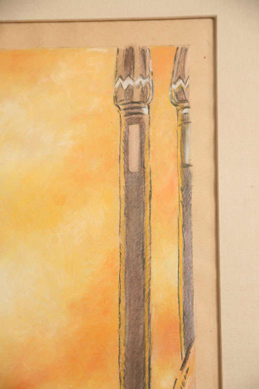 One of a Kind French Art Deco Watercolor by Eduard Chimot Custom Framed For Sale 2