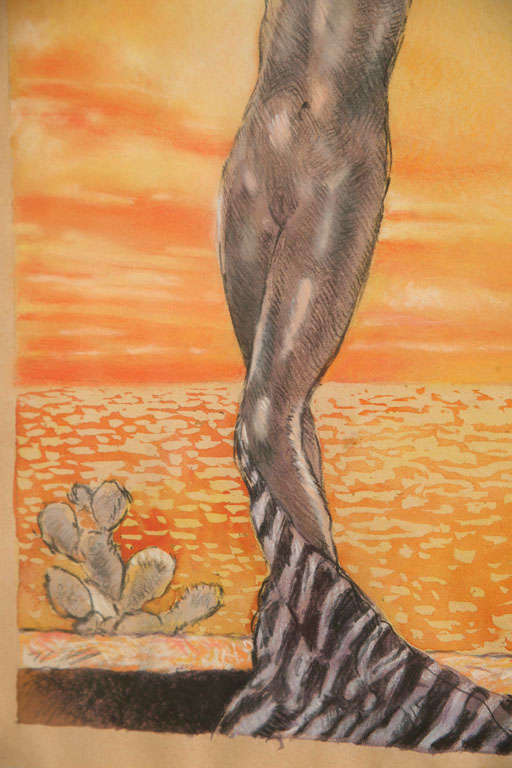 One of a Kind French Art Deco Watercolor by Eduard Chimot Custom Framed For Sale 4