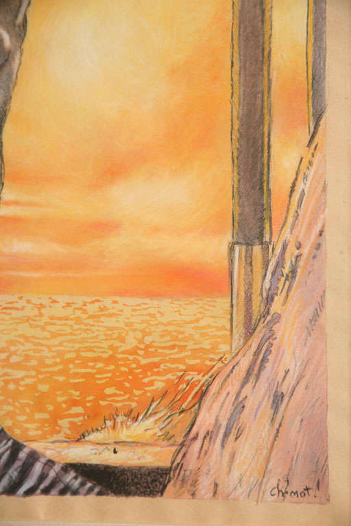One of a Kind French Art Deco Watercolor by Eduard Chimot Custom Framed For Sale 5