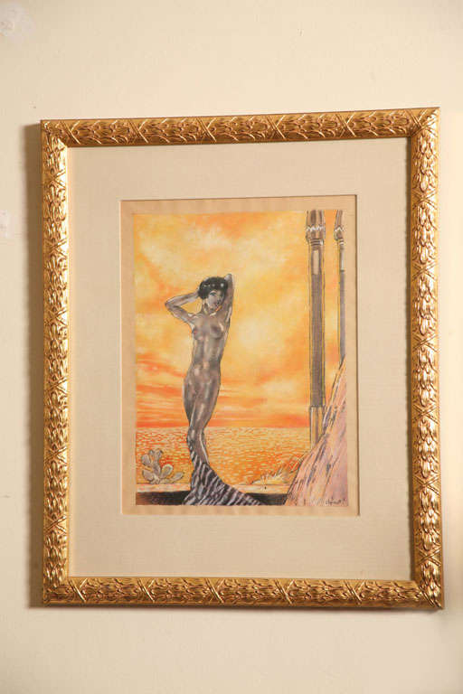 Stunning one of a kind watercolor painted in 1920s France by Eduard Chimot who worked a lot in erotica. This watercolor is sensual with beautiful colors. Signed. It is newly custom framed with a an off white silk mat and gold frame.