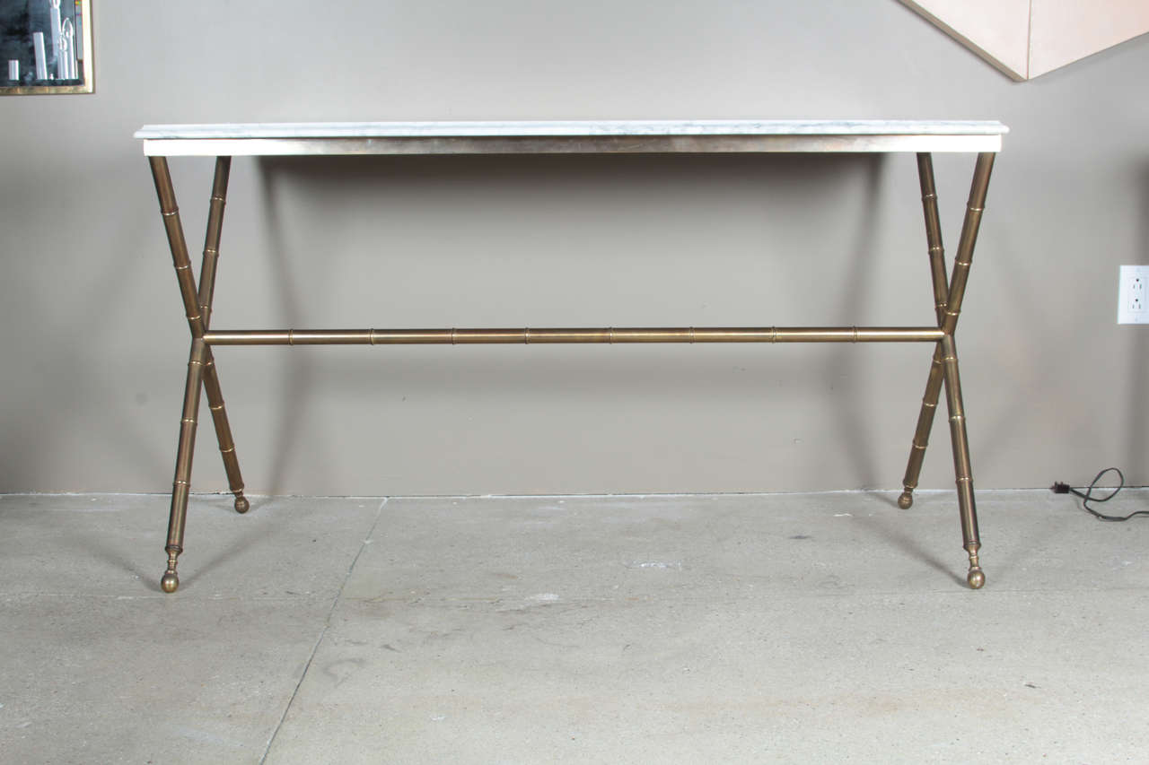 Faux Bamboo And Marble Console Table At 1stdibs