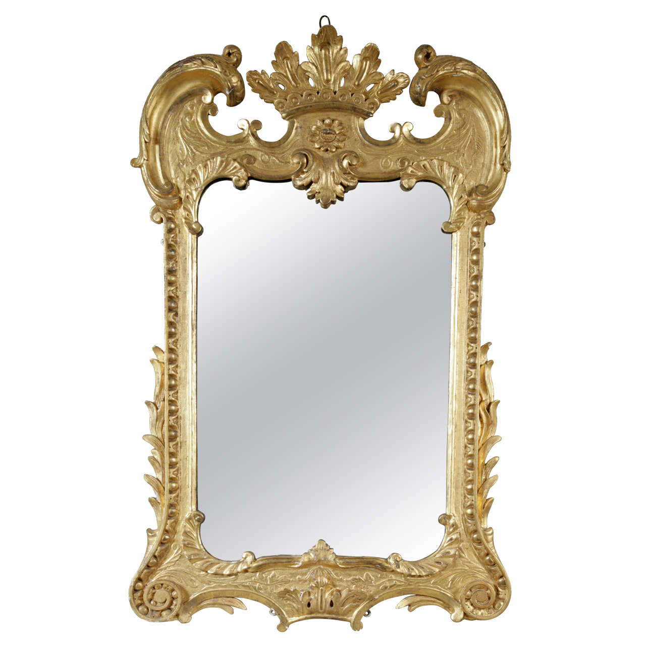 An Unusual 18th Century carved Giltwood Wall Mirror