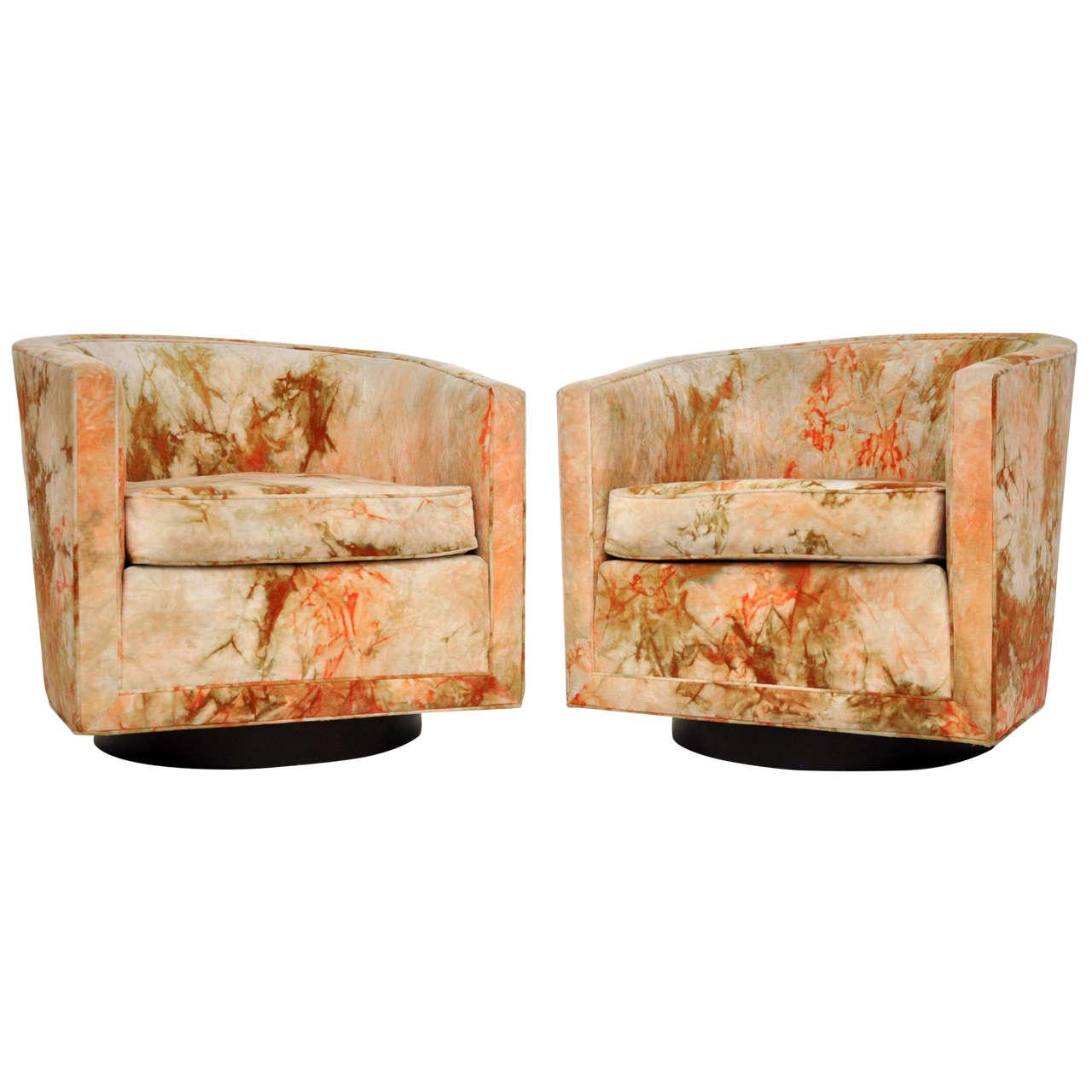 Dunbar Swivel Lounge Chairs By Edward Wormley At 1stdibs