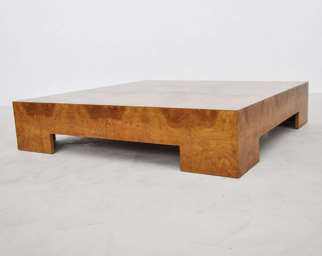 Milo baughman low burl wood coffee table at 1stdibs for Low coffee table wood