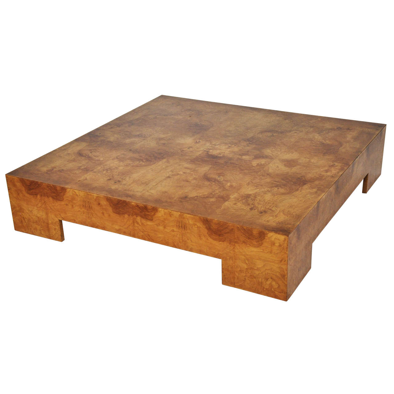 Wood Low Table ~ Milo baughman low burl wood coffee table at stdibs