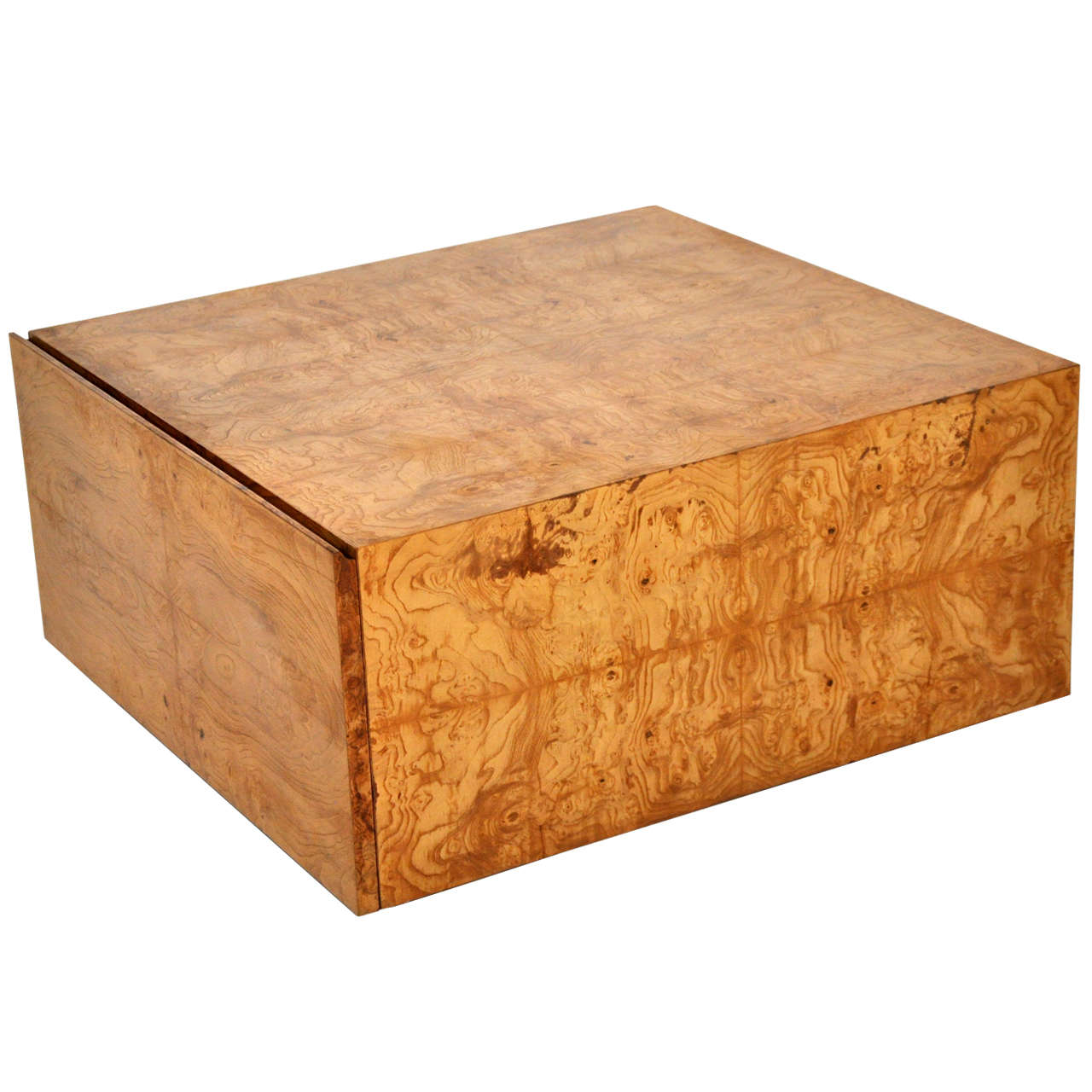 Milo Baughman Burl Wood Coffee Table With Storage At 1stdibs