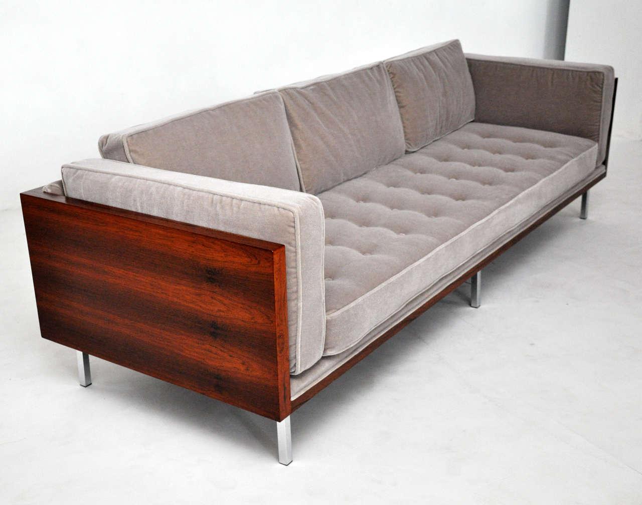 Beautiful 8ft Rosewood Case Sofa By Milo Baughman. Fully Restored. Beautiful Rosewood  Wood Grain.