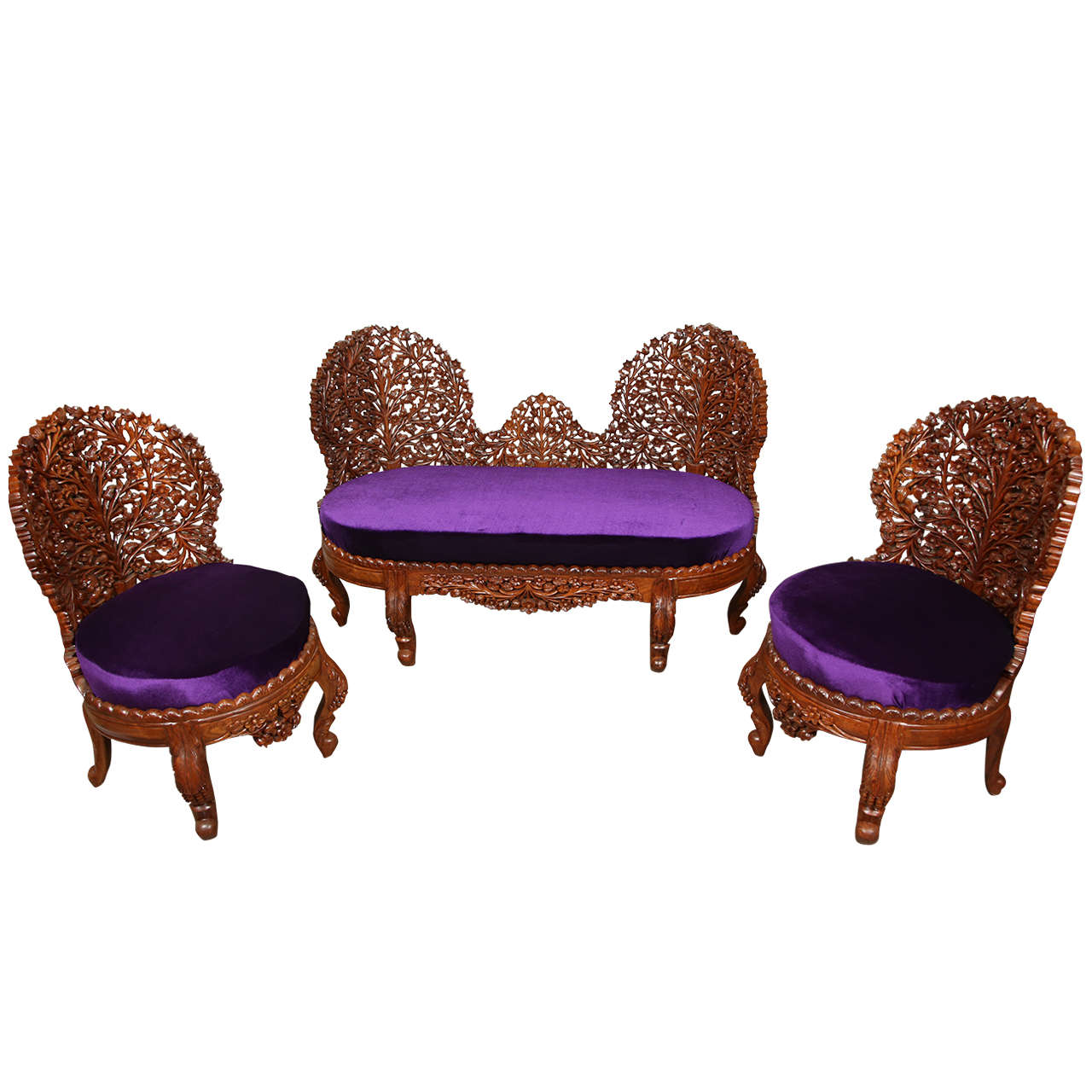 anglo indian settee and side chairs suite at 1stdibs
