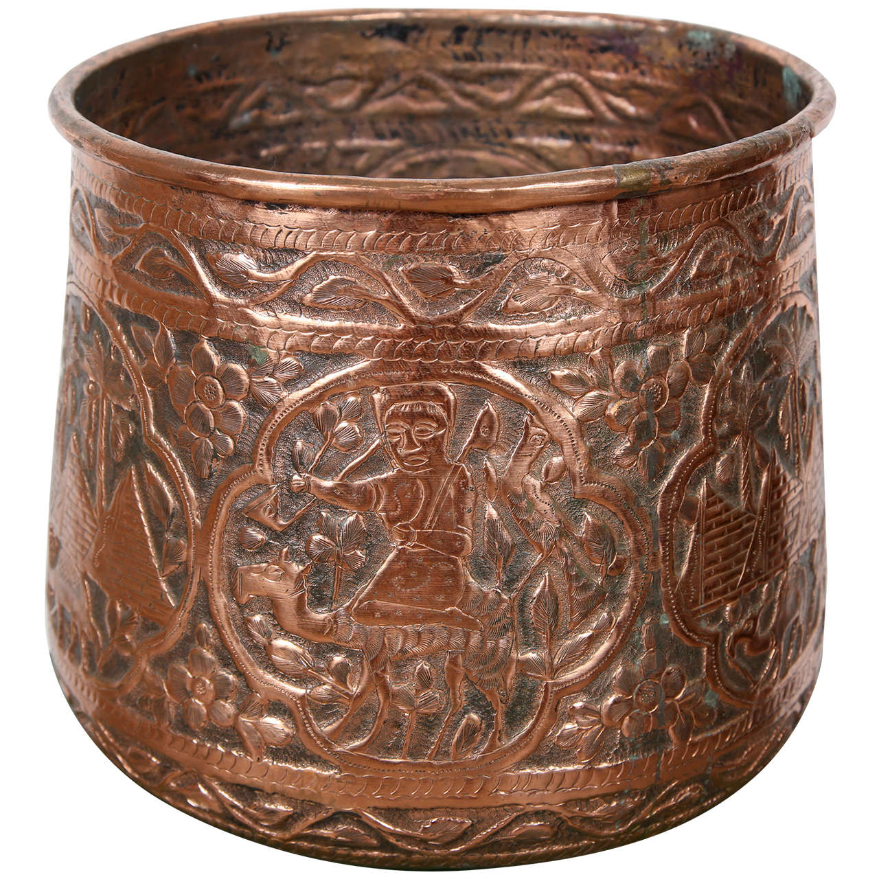 copper hand etched mameluke pot jardiniere for sale at 1stdibs. Black Bedroom Furniture Sets. Home Design Ideas